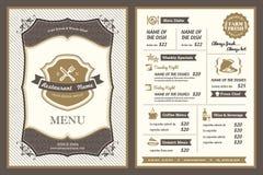 Diseño del menú del restaurante del capítulo del vintage Imagenes de archivo