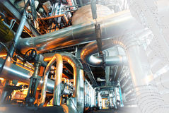 Diseño del ordenador cad de tuberías del pla industrial moderno del poder Foto de archivo