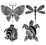 Diseño del tatuaje. Mariposa, tortuga, libélula Foto de archivo libre de regalías