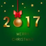 Diseño del texto de la Feliz Año Nuevo 2017 El ejemplo del saludo del vector con las bolas de la Navidad arquea y las estrellas Foto de archivo