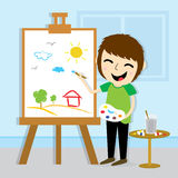 Diseño del vector de Drawing Cute Cartoon del artista del muchacho Foto de archivo libre de regalías