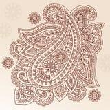 Diseño del vector del Doodle de Paisley de la flor del tatuaje de la alheña Fotografía de archivo libre de regalías