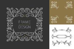 Diseño determinado del hispter del marco retro del monograma Fotos de archivo libres de regalías