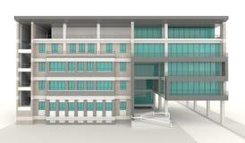 diseño exterior de la arquitectura del condominio 3D en el fondo blanco Imagenes de archivo