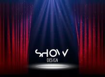 Diseño festivo del vector con las luces Cartel para el concierto, partido, teatro, plantilla de la danza Etapa con las cortinas c Foto de archivo