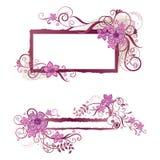 Diseño floral rosado del marco y de la bandera Fotos de archivo