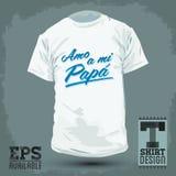 Diseño gráfico de la camiseta - Amo una papá del MI - amor de i que mis españoles del papá mandan un SMS Foto de archivo libre de regalías