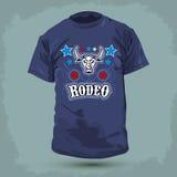 Diseño gráfico de la camiseta - rodeo - Bull y estrellas Fotografía de archivo libre de regalías