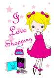 Diseño gráfico del vector de la camiseta de los niños de la moda de la muchacha de compras Imagen de archivo libre de regalías