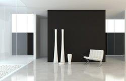 Diseño interior B&W moderno Imagen de archivo libre de regalías