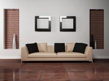 Diseño interior moderno de sala de estar con Foto de archivo libre de regalías