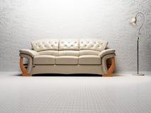 Diseño interior moderno de sala de estar con un sofá brillante Fotografía de archivo libre de regalías