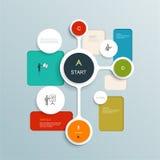 Diseño mínimo de los elementos de Infographics Círculos abstractos y plantilla infographic de los cuadrados con el lugar para su  Imagen de archivo libre de regalías
