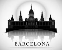 Diseño moderno del horizonte de la ciudad de Barcelona españa Fotografía de archivo