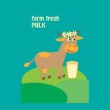 Diseño orgánico de la etiqueta de la leche con la vaca linda en leche Ilustración del vector Imágenes de archivo libres de regalías