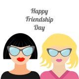 Diseño plano de la amistad del día de la moda de los mejores amigos morenos rubios felices de la mujer Imagenes de archivo