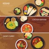 Diseño plano de la bandera Halal de la red alimentaria, kebab, biryani del pollo, cabra Imagen de archivo