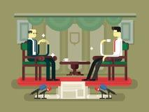 Diseño plano de la entrevista del político Foto de archivo