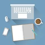 Diseño plano del ordenador portátil y del cuaderno Imagen de archivo libre de regalías