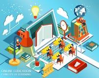 Diseño plano isométrico de la educación en línea El concepto de libros del aprendizaje y de lectura en la biblioteca y en la sala Fotos de archivo