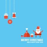 Diseño plano lindo de la tarjeta de felicitación de Santa Claus New Year Christmas Holiday Fotos de archivo libres de regalías