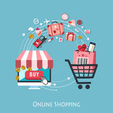 Diseño plano para el concepto en línea de las compras Fotos de archivo libres de regalías
