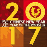 Diseño plano por Año Nuevo chino en 2017 con el gallo, ejemplo del vector Imagenes de archivo