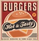 Diseño retro del cartel de la hamburguesa Imagenes de archivo