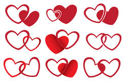 Diseño rojo del vector de los corazones para el tema del amor Imagen de archivo