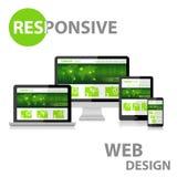 Diseño web responsivo en el diverso dispositivo Imagen de archivo libre de regalías
