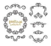 Diseños caligráficos ornamentales del vintage fijados Imagenes de archivo