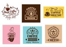 Diseños gráficos de la etiqueta creativa del café Foto de archivo