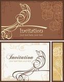 Diseños ornamentales de la invitación fijados con el pájaro Foto de archivo