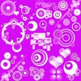 Diseños y corazones retros Imagen de archivo