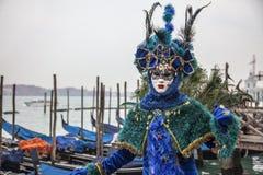Disfraz veneciano azul Imagen de archivo libre de regalías
