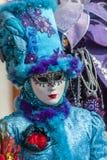 Disfraz veneciano azul Imágenes de archivo libres de regalías