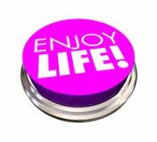 Disfrute de la experiencia Live Happiness del botón de la vida stock de ilustración
