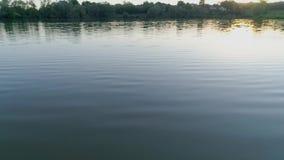 Disfrute de la naturaleza, viaje del agua en el lago por la tarde en la posluminiscencia almacen de metraje de vídeo