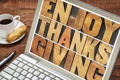 Disfrute de la tipografía de la acción de gracias Fotografía de archivo libre de regalías