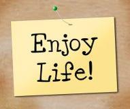Disfrute de la vida indica felicidad jubilosa y alegre Imágenes de archivo libres de regalías