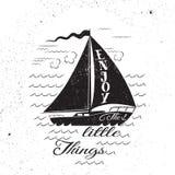 Disfrute de las pequeñas cosas Cartel inspirado dibujado mano Foto de archivo libre de regalías