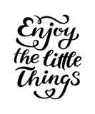 Disfrute de las pequeñas cosas - dé la cita inspirada exhausta El vector aisló el elemento del diseño de la tipografía Bueno para stock de ilustración