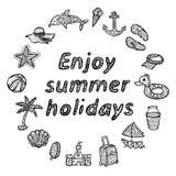 Disfrute de las vacaciones de verano Iconos de la playa fijados Foto de archivo libre de regalías