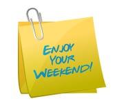 Disfrute de sus posts del fin de semana. diseño del ejemplo Fotografía de archivo