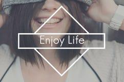 Disfrute del concepto de Live Love Like Love Joy de la felicidad de la vida foto de archivo libre de regalías