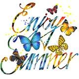Disfrute del diseño del cartel de la acuarela del verano Fotografía de archivo