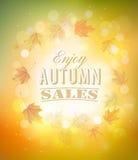 Disfrute del fondo de Autumn Sales con las hojas de otoño Foto de archivo libre de regalías