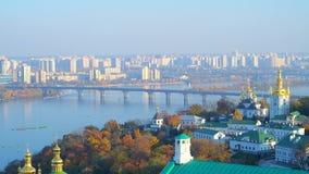 Disfrute del panorama de Kiev, Ucrania almacen de video