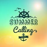 Disfrute del verano que llama el cartel del vintage de Hawaii de la salida del sol Imágenes de archivo libres de regalías