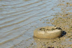 Disgarded car wheel and tyre. Photograph of a dumped car wheel and tyre by the edge of a river Stock Photo